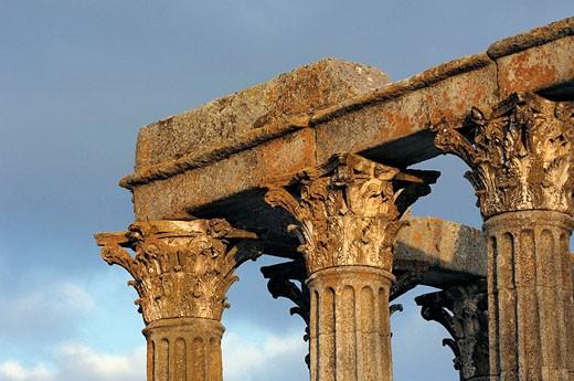 Stock Photo: 1566-427787 Ruins of Roman temple of Diana at Evora, Alentejo. Portugal