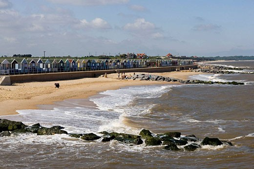 Southwold, North Sea. Beach Huts, beach cottages, Suffolk. England : Stock Photo