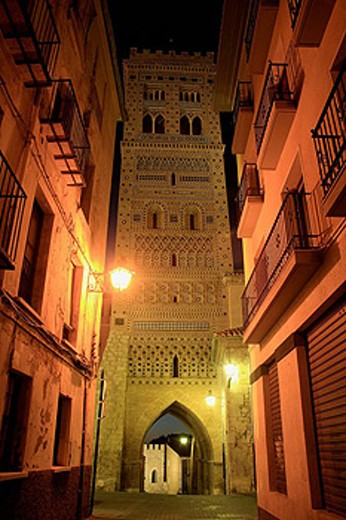 Tower of San Martín (14th century) in mudejar style, Teruel. Aragon, Spain : Stock Photo