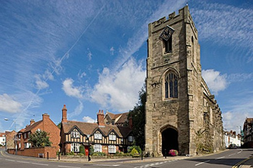 Warwick. Chantry Chapel of St James, built over the West Gate by Thomas Beauchamp. Warwickshire, the Midlands, UK : Stock Photo