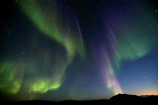 Stock Photo: 1566-430823 Northern lights or Aurora Borealis. Greenland