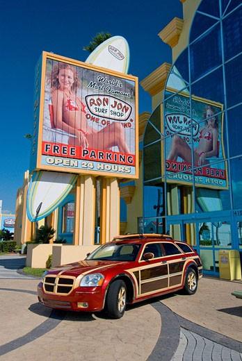 Stock Photo: 1566-431050 Ron Jon Surf shop exterior advertising at Cocoa Beach, Florida, USA, 2008