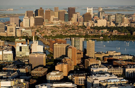 Cambridge and Boston, aerial view from Kendall Square towards harbor, Boston,  MA : Stock Photo
