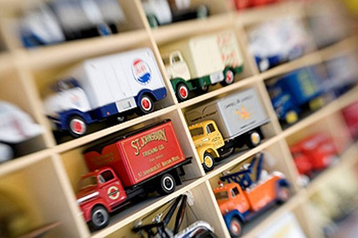 Stock Photo: 1566-432067 Collectible toy trucks at Antique fair, Brimfield, Usa.