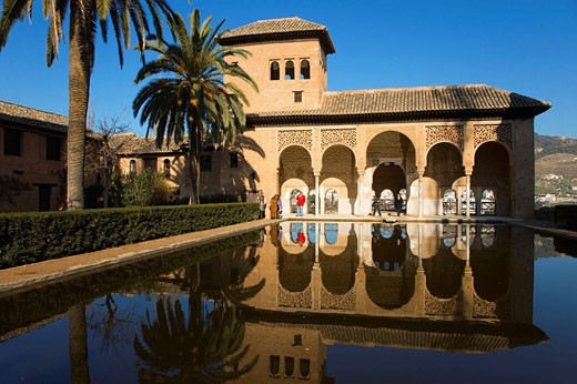 Pond and Torre de las Damas in Partal palace complex, Alhambra, Granada. Andalusia, Spain : Stock Photo
