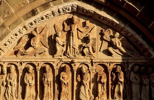 Stock Photo: 1566-433273 Detail of the tymphanum of a church (12 th. Century), Collonges-la-Rouge, on the St-James way (also known as el Camino de Santiago), Correze, France