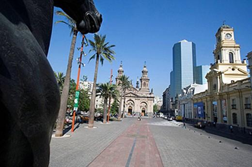 Stock Photo: 1566-433572 PERDO DE VALDIVIA EQUESTRIAN STATUE, PLAZA DE ARMES, SANTIAGO, CHILE