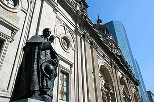 Stock Photo: 1566-433593 STATUE OF CLERGYMAN, METROPOLITAN CATHEDRAL PLAZA DE ARMES, SANTIAGO, CHILE