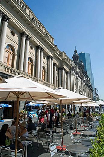 SIDEWALK CAFES, PLAZA DE ARMES, SANTIAGO, CHILE, : Stock Photo