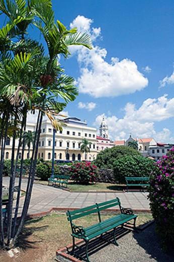 Stock Photo: 1566-434239 WATERFRONT GARDENS PROMENADE CASCO ANTIGUO SAN FILIPE PANAMA CITY REPUBLIC OF PANAMA