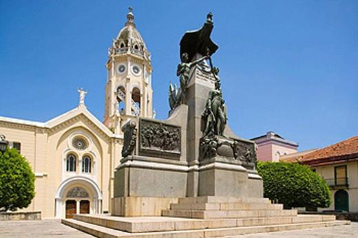 SIMON BOLIVAR MONUMENT PLAZA BOLIVAR CASCO ANTIGUO SAN FILIPE PANAMA CITY REPUBLIC OF PANAMA : Stock Photo