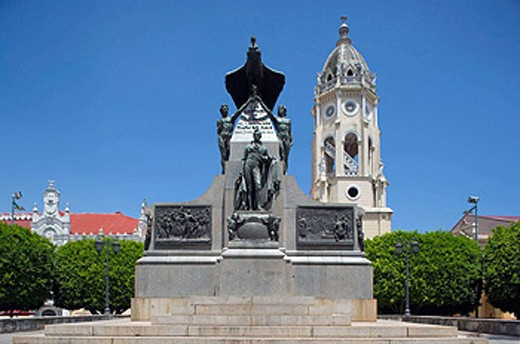 Stock Photo: 1566-434274 SIMON BOLIVAR MONUMENT PLAZA BOLIVAR CASCO ANTIGUO SAN FILIPE PANAMA CITY REPUBLIC OF PANAMA