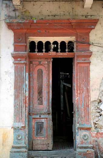 Stock Photo: 1566-434290 RED DOORWAY CASCO ANTIGUO SAN FILIPE PANAMA CITY REPUBLIC OF PANAMA