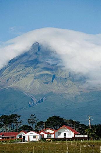 Puniho Marae and Mt Taranaki / Egmont, Taranaki, North Island, New Zealand : Stock Photo