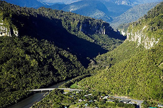 Stock Photo: 1566-434592 Pororari River Gorge, Punakaiki, Paparoa National Park, West Coast, South Island, New Zealand - aerial