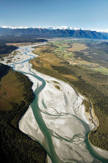 Whataroa River and Southern Alps, West Coast, South Island, New Zealand - aerial : Stock Photo