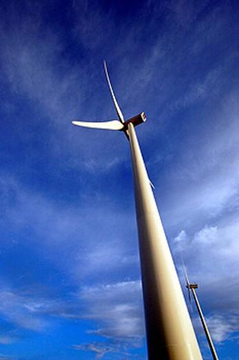 Electricity production windmills, Arcadia, Peloponnese, Greece : Stock Photo