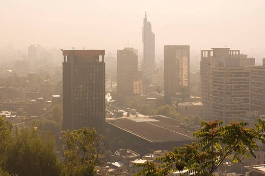 Stock Photo: 1566-436421 Downtown skyline from Cerro Santa Lucia. Santiago. Chile.