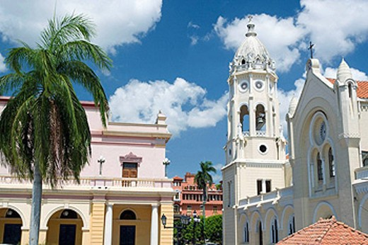 Stock Photo: 1566-436658 National theater and Saint Francis of Assisi. Old Town. San Filipe. Panama City. Panama