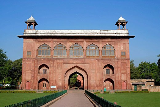 Delhi. Red fort. Entrance Gate of Diwani-Am and other structures. : Stock Photo
