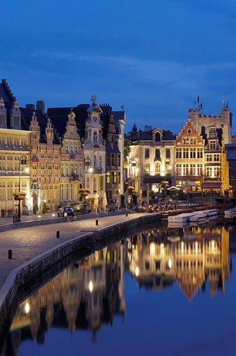 Guild Houses & Leie River at Dusk. Ghent. Belgium. : Stock Photo