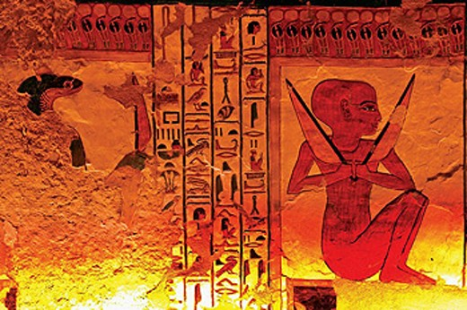 Stock Photo: 1566-437821 Queens Valley: detail of the Nefertari tomb, Luxor west bank. Egypt.