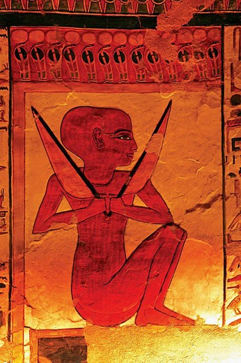 Stock Photo: 1566-437822 Queens Valley: detail of the Nefertari tomb, Luxor west bank. Egypt.
