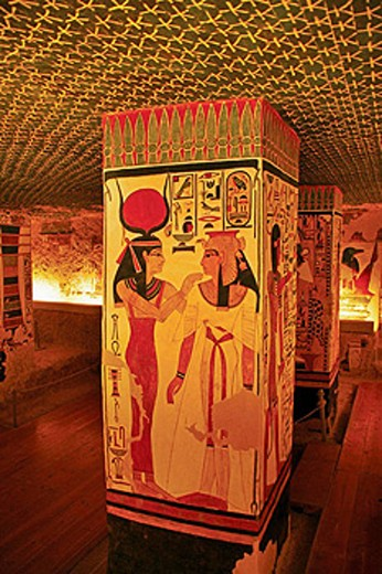 Stock Photo: 1566-437927 Queens Valley: detail of the Nefertari tomb, Luxor west bank. Egypt