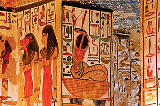Stock Photo: 1566-437930 Queens Valley: detail of the Nefertari tomb, Luxor west bank. Egypt