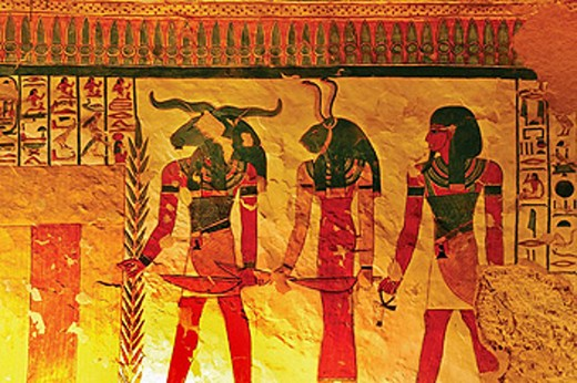 Queens Valley: detail of the Nefertari tomb, Luxor west bank. Egypt : Stock Photo