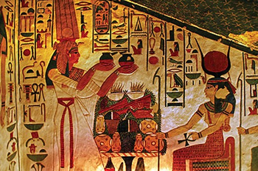 Stock Photo: 1566-437935 Queens Valley: detail of the Nefertari tomb, Luxor west bank. Egypt