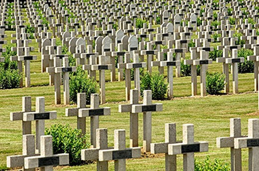 First World War Cemetery  at Soissons. Picardie. Aisne. Somme valley. France : Stock Photo