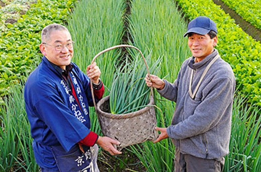 Farmers showing a basket with onionplant, smiling, portrait, Japan : Stock Photo