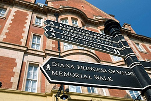 Stock Photo: 1566-442054 Diana princess of wales direction sign bayswater  London  England  UK