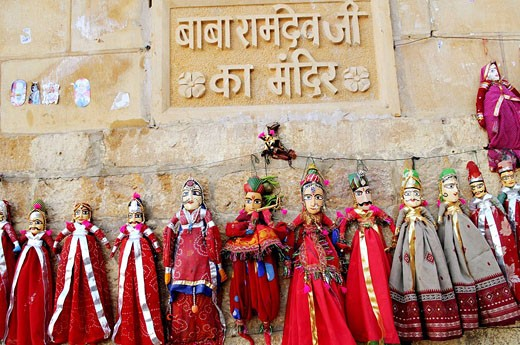 Stock Photo: 1566-442444 Beautiful Rajasthani han puppets on display. The fort, Jaisalmer, Rajasthan, India
