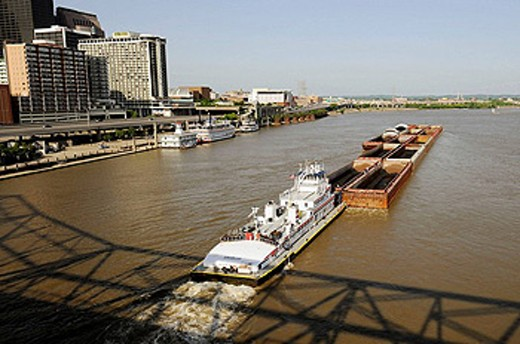Stock Photo: 1566-442682 Coal Barge on the Ohio River at Louisville Kentucky KY