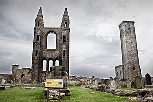 Ruins of St. Rule´s church and cathedral, St. Andrews. Fife, Scotland, UK : Stock Photo