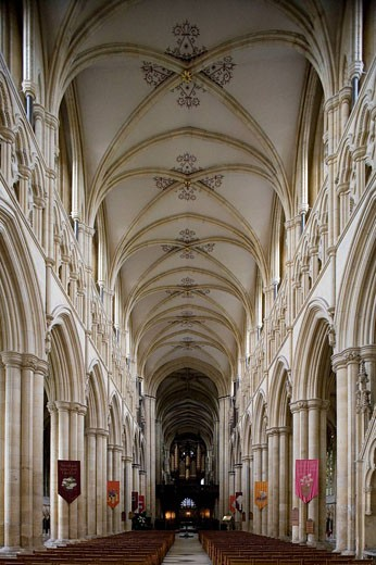 Beverley, Minster, founded in 8th century, built mainly 13th-14th centuries, Norman Nave, East Riding of Yorkshire, UK : Stock Photo