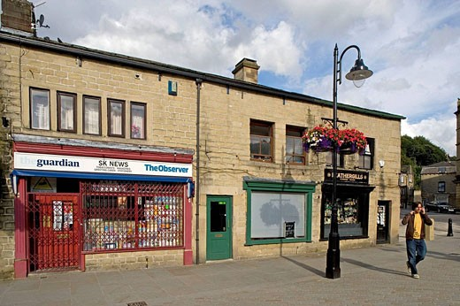 Hebden Bridge, St. Georges Square, typical buildings, West Yorkshire, UK : Stock Photo