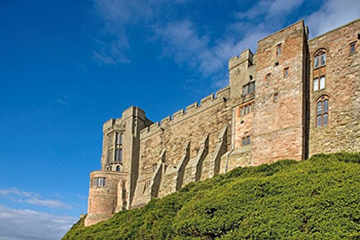 Stock Photo: 1566-446119 Bamburgh, Norman castle, by the 1st Baron Armstrong, Northumberland, UK