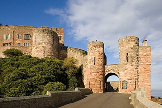 Bamburgh, Norman castle, by the 1st Baron Armstrong, Northumberland, UK : Stock Photo