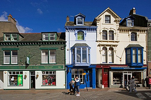 Keswick, Main Street, typical buildings, Lake District, Cumbria, UK : Stock Photo