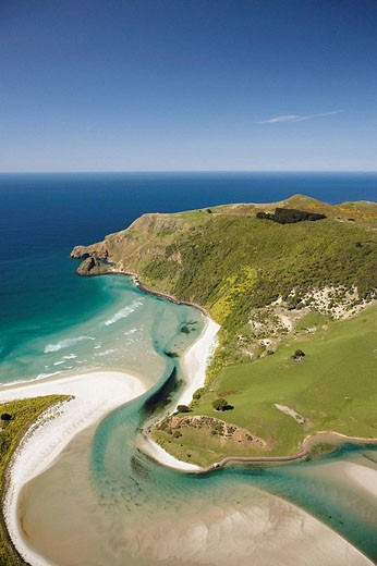 Hoopers Inlet and Allans Beach, Otago Peninsula, Dunedin, South Island, New Zealand - aerial : Stock Photo