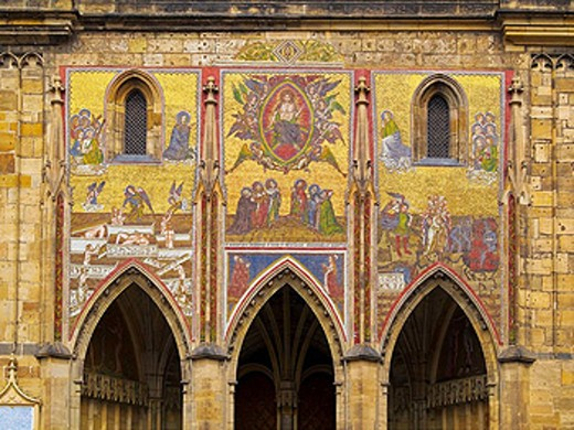 Mosaic mural, St. Vitus Cathedral, Prague. Czech Republic : Stock Photo