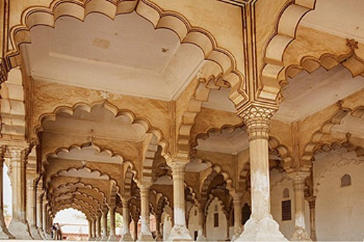 Decorated Colums in Diwan-i-Aam, Agra Fort, Agra, Uttar Pradesh, India : Stock Photo