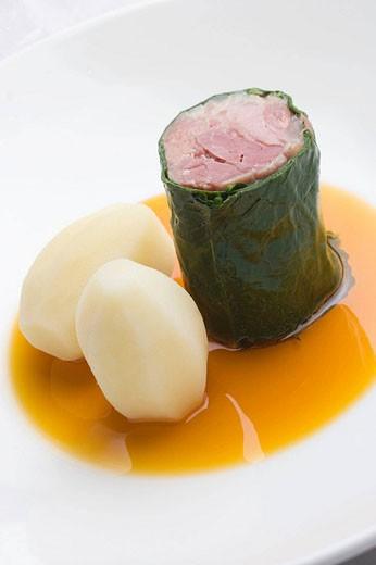 Stock Photo: 1566-446972 ´Lacon con grelos´ at restaurant Yayo Daporta, Cambados. Pontevedra province, Galicia, Spain