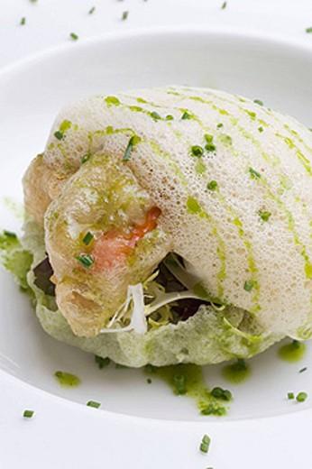 Tempura mussels with culinary foam at restaurant Yayo Daporta, Cambados. Pontevedra province, Galicia, Spain : Stock Photo