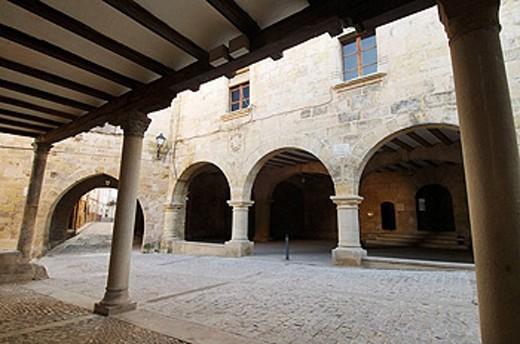 Town Hall (16th century), Monroyo. Teruel province, Aragon, Spain : Stock Photo