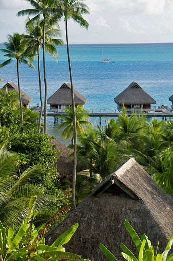 Stock Photo: 1566-447185 Bora-Bora Nui Resort. Bora-Bora. Islands in the Windward. Archipelago of Society Islands. Southern Pacific Ocean. French Polynesia