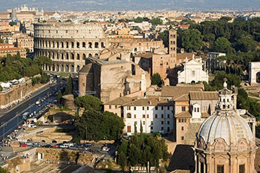 Stock Photo: 1566-448755 Roman Forum and Colosseum as seen from Altare della Patria, Rome. Lazio, Italy